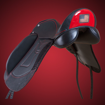 Custom designed black widow spider saddle
